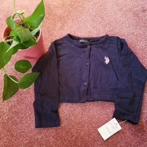 U.S. Polo Assn Cardigan Sweater Navy Blue Size 4T